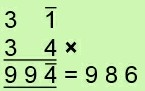 Partial Sum 3 bar 1 times 34 = 99 bar 4 = 986